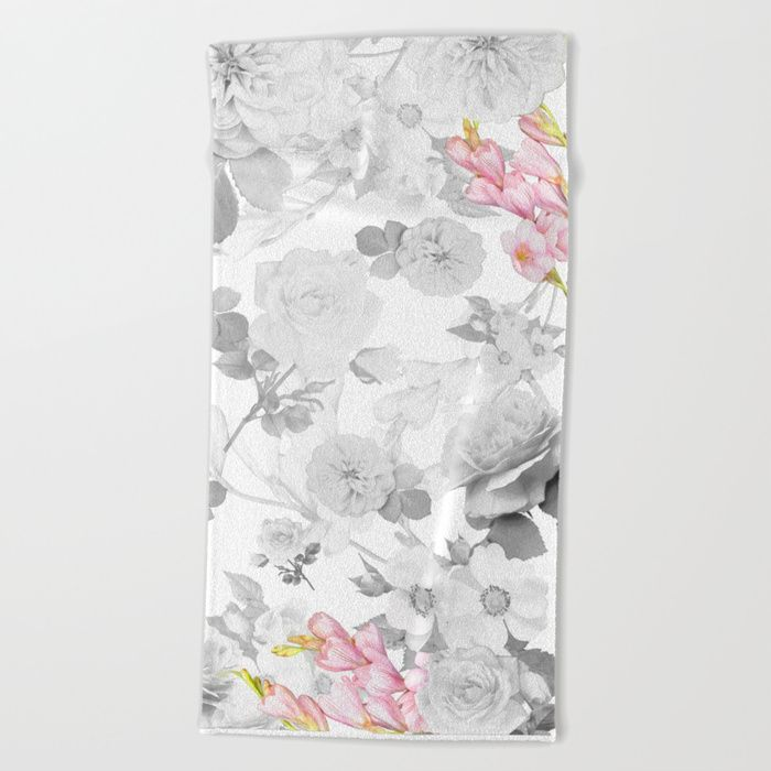Floral Design Beach Towel Towel Bathroom Floral Flowers Pink