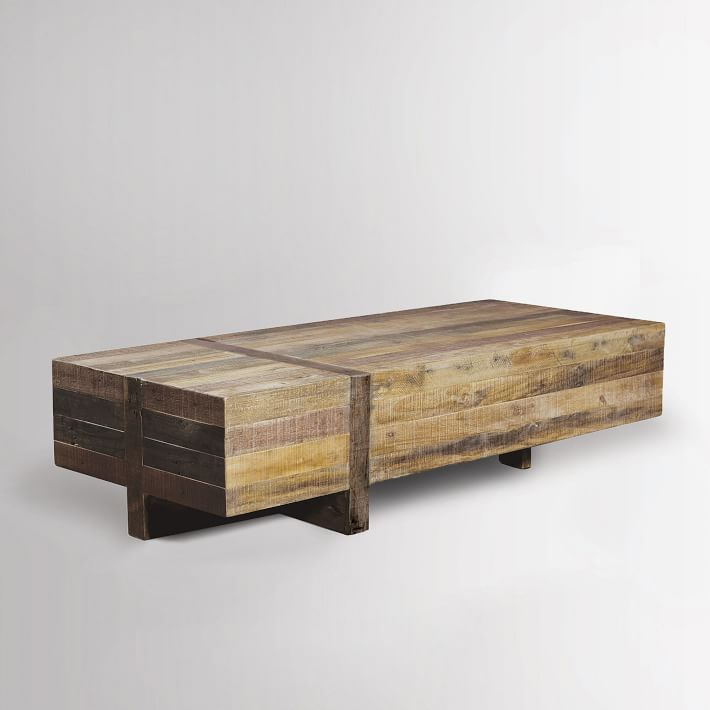 Emmerson Reclaimed Wood Block Coffee Table Natural Reclaimed Wood Coffee Table Coffee Table Wood Living Room Coffee Table