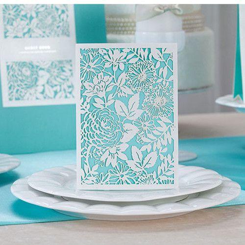Tiffany Blue Wedding Invitations Kits: Inexpensive Tiffany Blue Floral Laser Cut Wedding