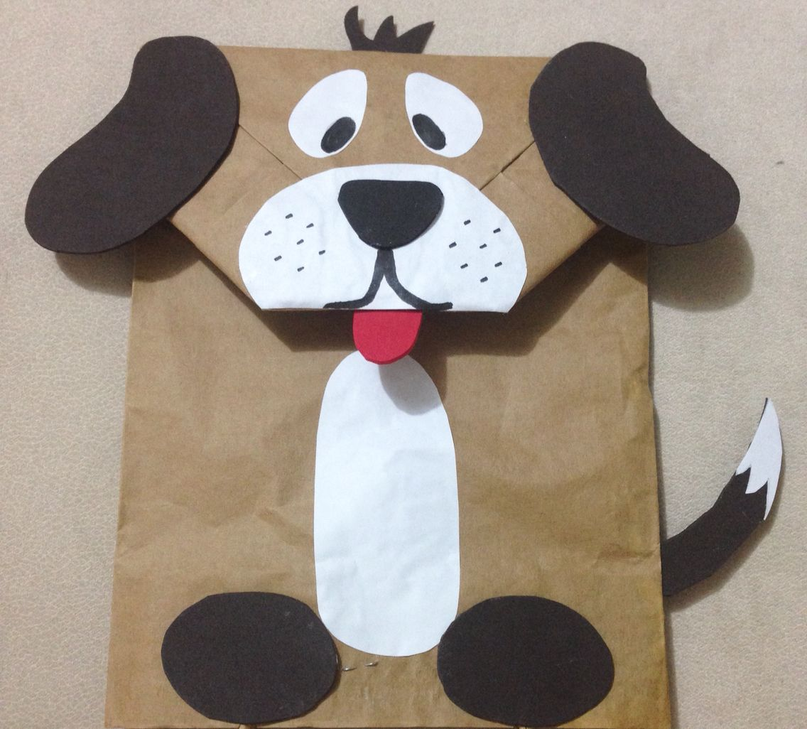 Puppet dog made from paper bag diy pinterest for Brown paper bag crafts for preschoolers
