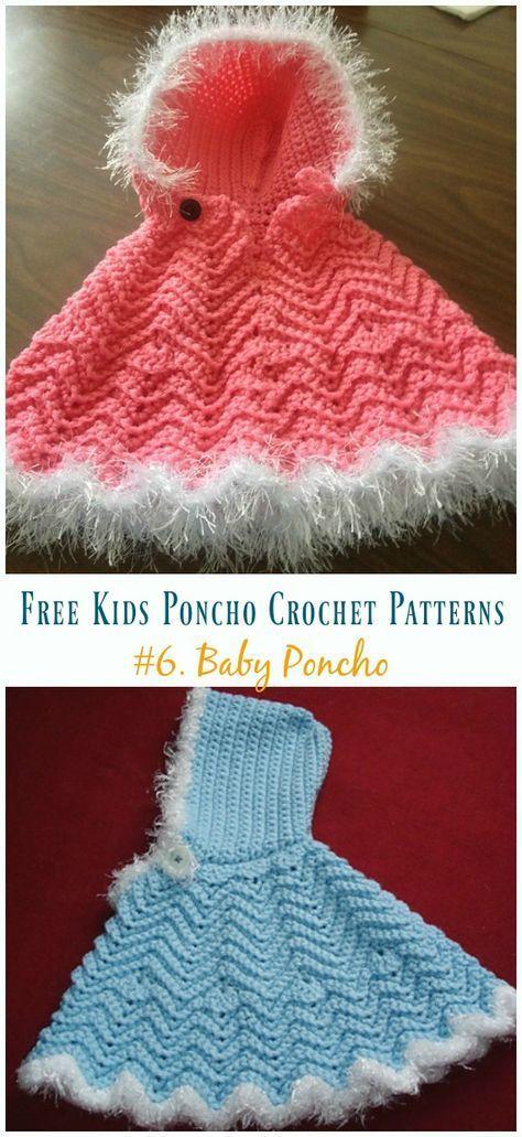 Free Kids Poncho Crochet Patterns #crochetponchokids Ripple Baby PonchoFree Crochet Pattern -Free Kids #Poncho; #Crochet Patterns