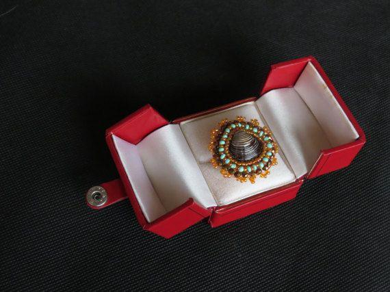 Anello Tramonto marino di MultiversoJewelry su Etsy - bead embroidery ring