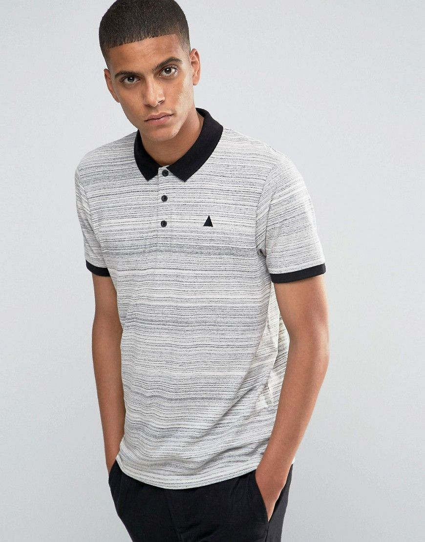 Image 1 of ASOS Inject Slub Polo with Logo and Contrast Collar in Grey