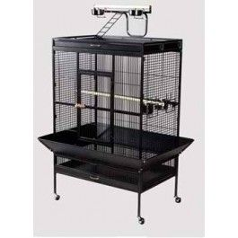 Prevue Pet Products Wrought Iron Select Cage for Parrots #3154 includes 4 stainless steel cups, 2 solid wood perches and pull-out bottom grille and tray. http://bit.ly/1ivljBb