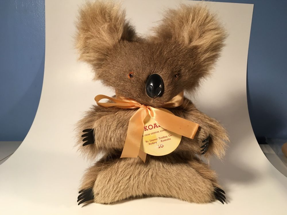 Vintage Antique Koala Bear Plush Toy Real Fur Stuffed ...