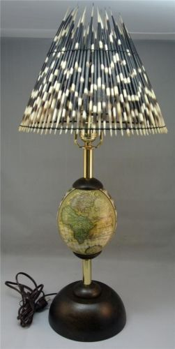 Genuine Ostrich Egg Lamp Stand With Real Porcupine Quill