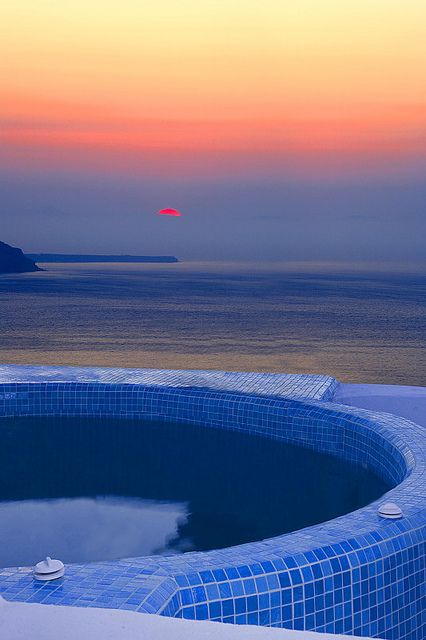 Awesome sunset in Santorini