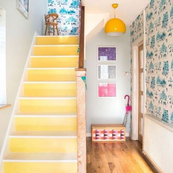 Try painting your stairs instead of carpeting them for a bright, modern look... #interiordesign #paint #decor #bright #yellow