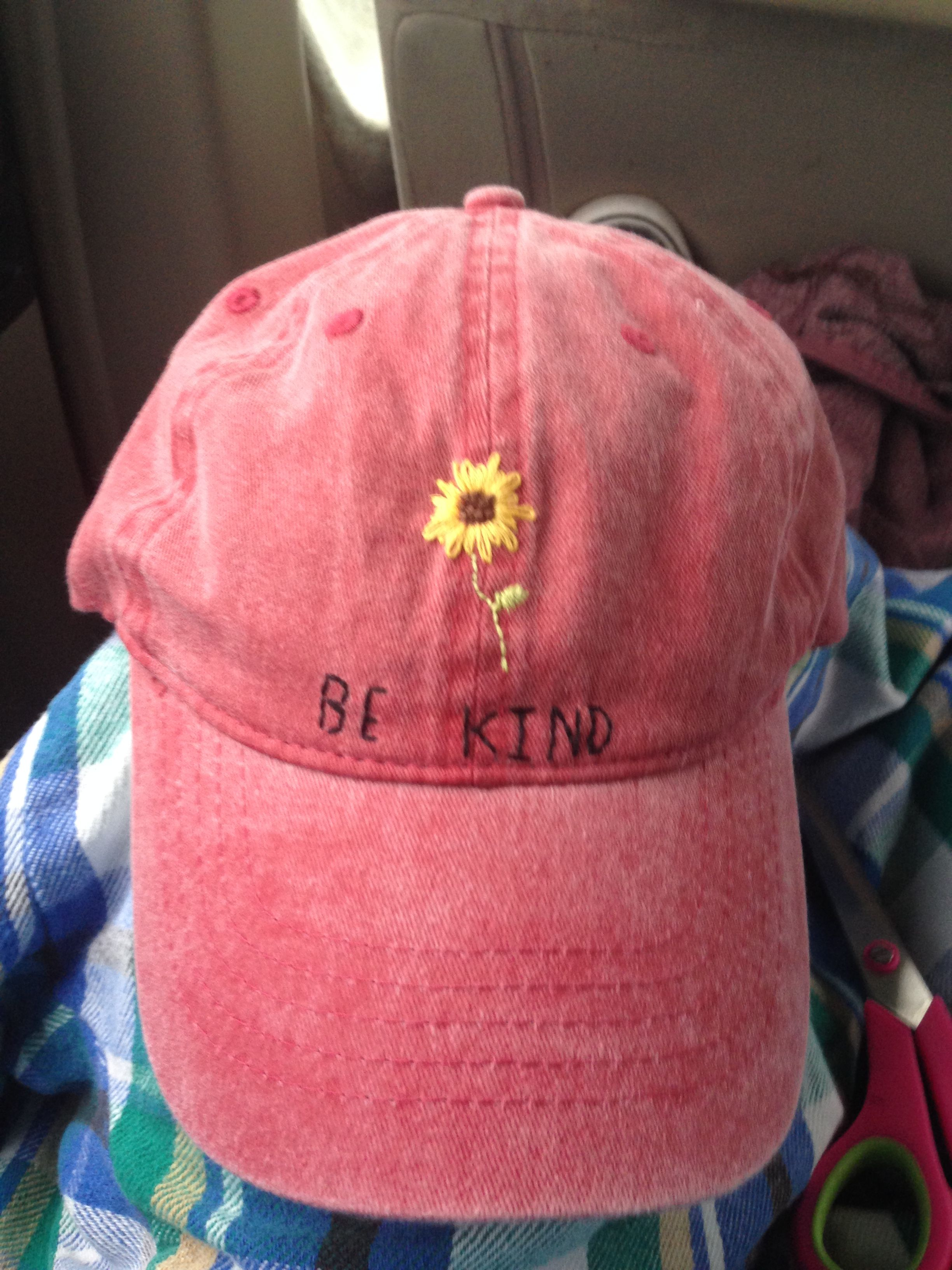 Hat Embroidery Be Kind Sunflower Hat Embroidery Embroidery Tshirt Embroidery Designs Fashion