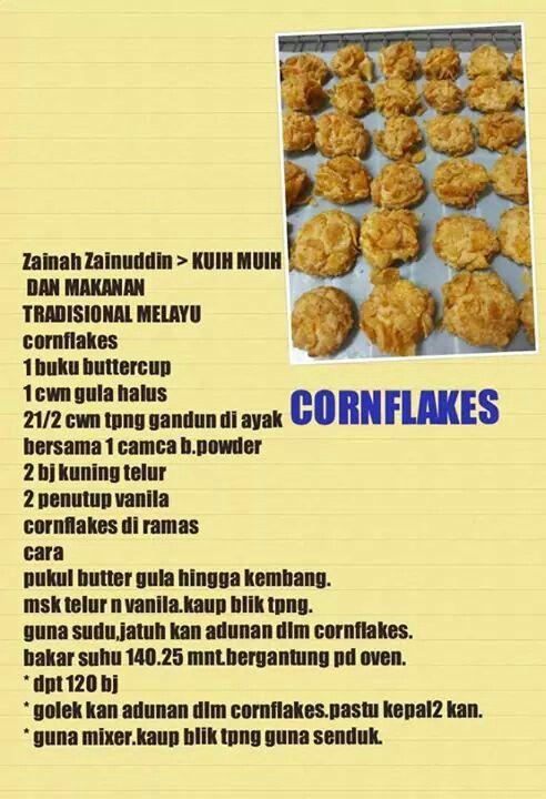 Biskut Cornflakes Yummy Cookies Biscuit Recipe Cookie Recipes