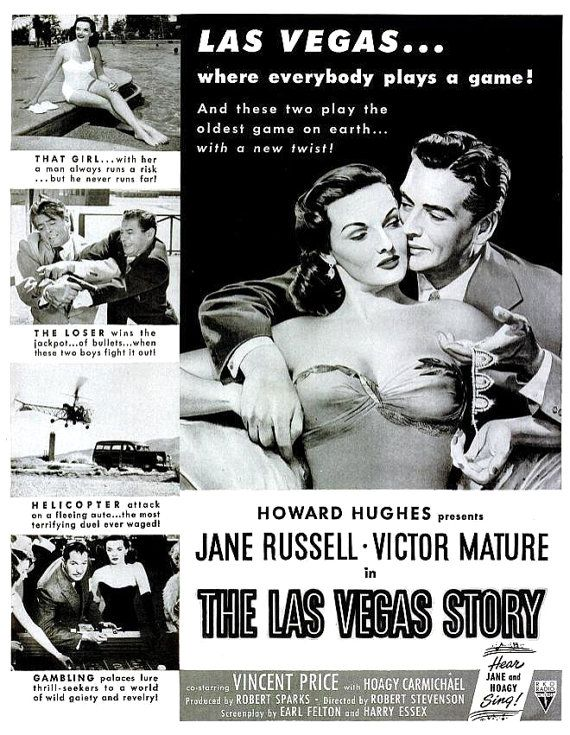 1952 jane russell the las vegas story old hollywood regency glamour black white film noir howard hughes vincent price cinema movie poster ad pinterest