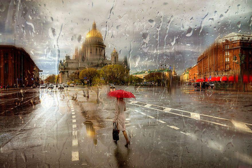 SanPietroburgo sotto la pioggia - rain-street-photography-glass-raindrops-oil-paintings-eduard-gordeev-16