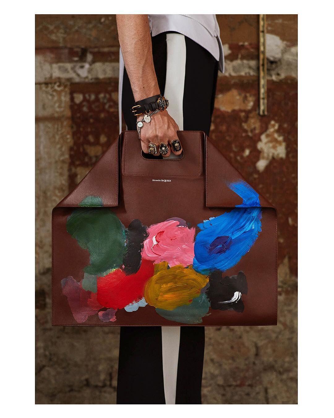 "eb0a1f5e1 Alexander McQueen on Instagram  ""A Demanta Shopper with an artist s  palette-inspired print. From the Alexander McQueen Spring Summer 2019  menswear ..."