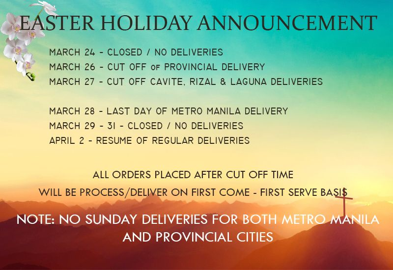 Easter holiday announcement deliveryph holidaynotice easter valentine gifts flowers chocolate for philippines negle Images