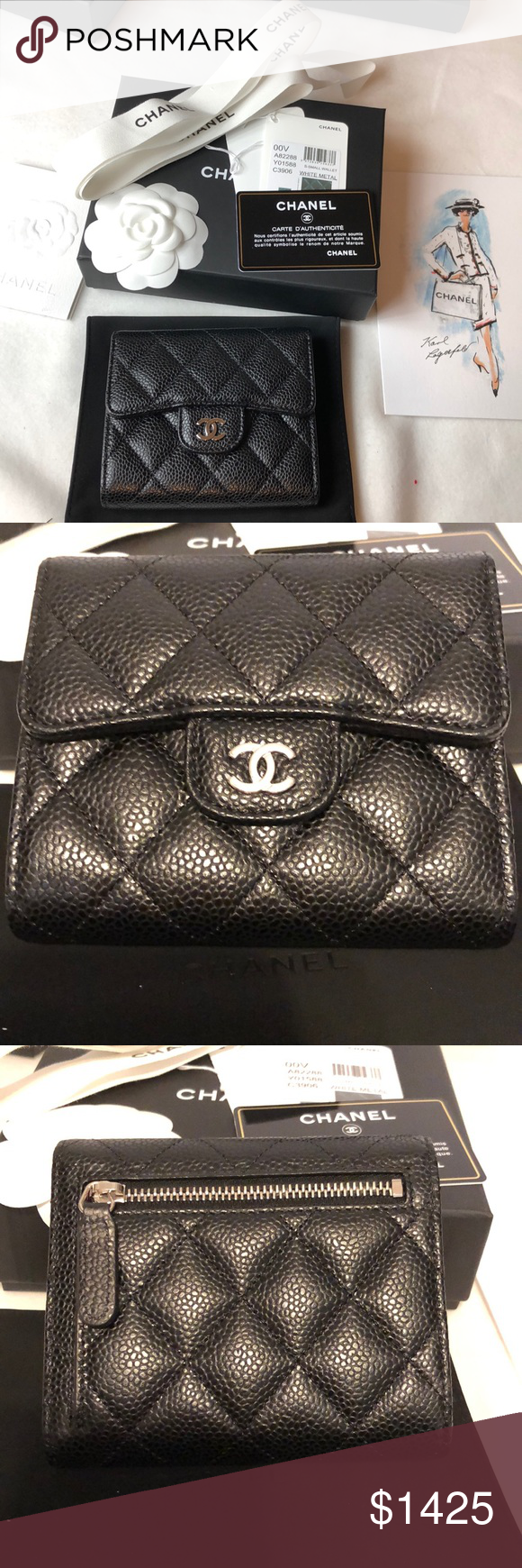 78ac5a5c19a5 BN Chanel Classic Medium Compact Flap Wallet Brand New Chanel Classic  Trifold Flap Compact Wallet Black
