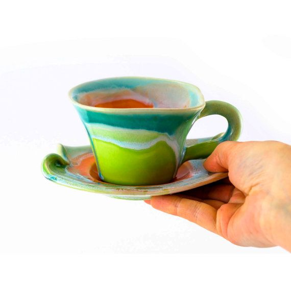 Stoneware cup coffee tea saucer small clay   unique by Artmika, zł94.00