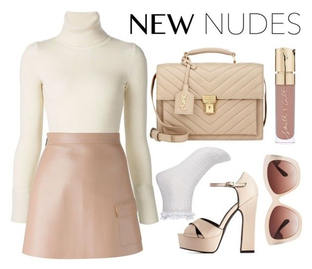 """New Nudes"" by marilynn96 ❤ liked on Polyvore featuring Emanuel Ungaro, River Island, Wild Diva, MSGM, Yves Saint Laurent, Eloquii and Smith & Cult"