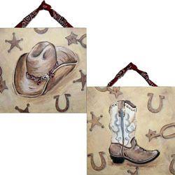 western boots artwork babies nursery and room
