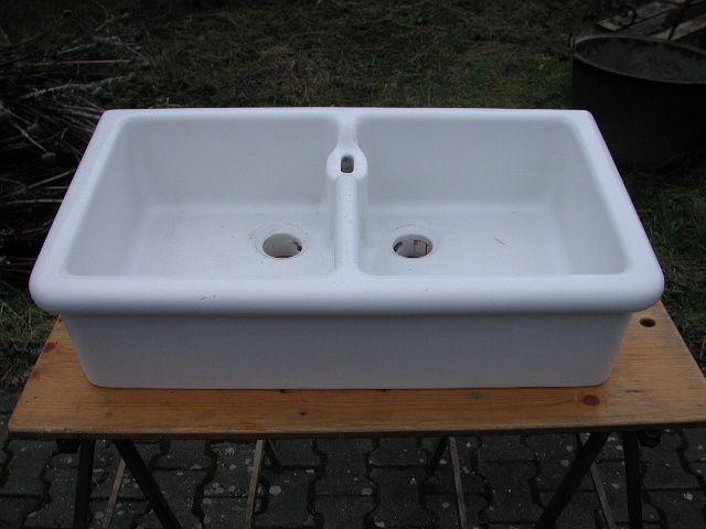 Doppel - Porzellanspüle, Waschbecken mit rundem Wulst 81,5 B\/46 - keramik waschbecken k che