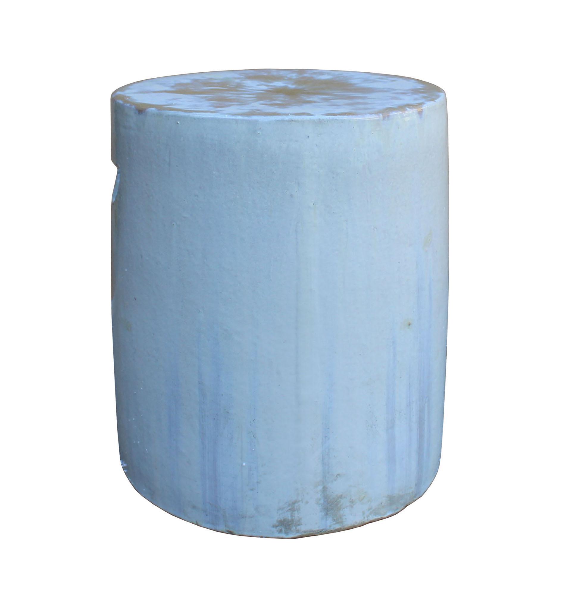 chinese ceramic clay off white glaze round flat column garden stool
