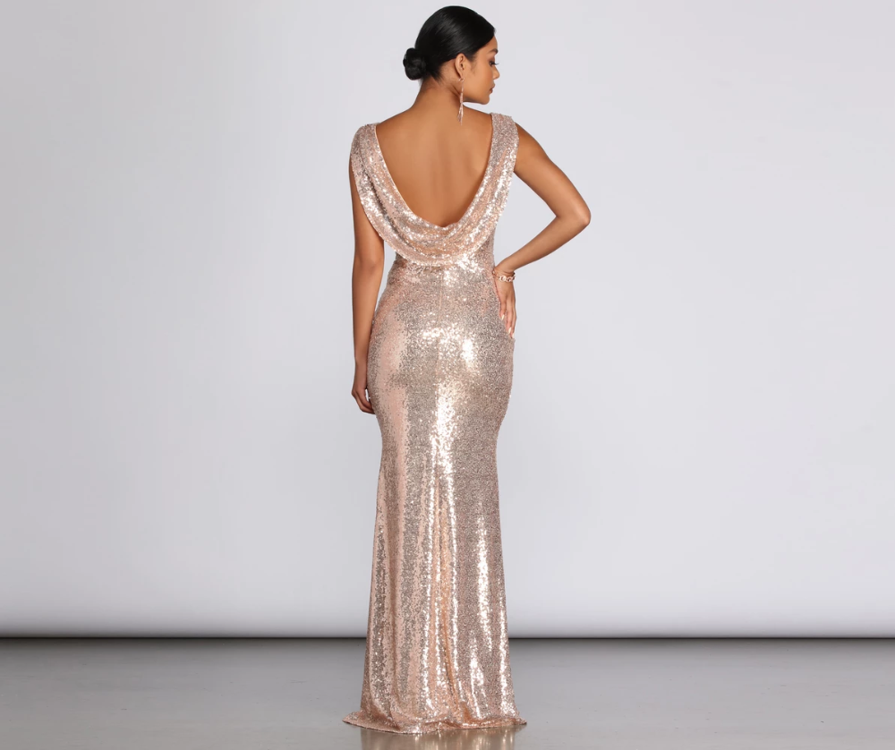 Paloma Cowl Back Sequin Gown Sequin Gown Gowns Winter Bridesmaid Dresses [ 838 x 1000 Pixel ]
