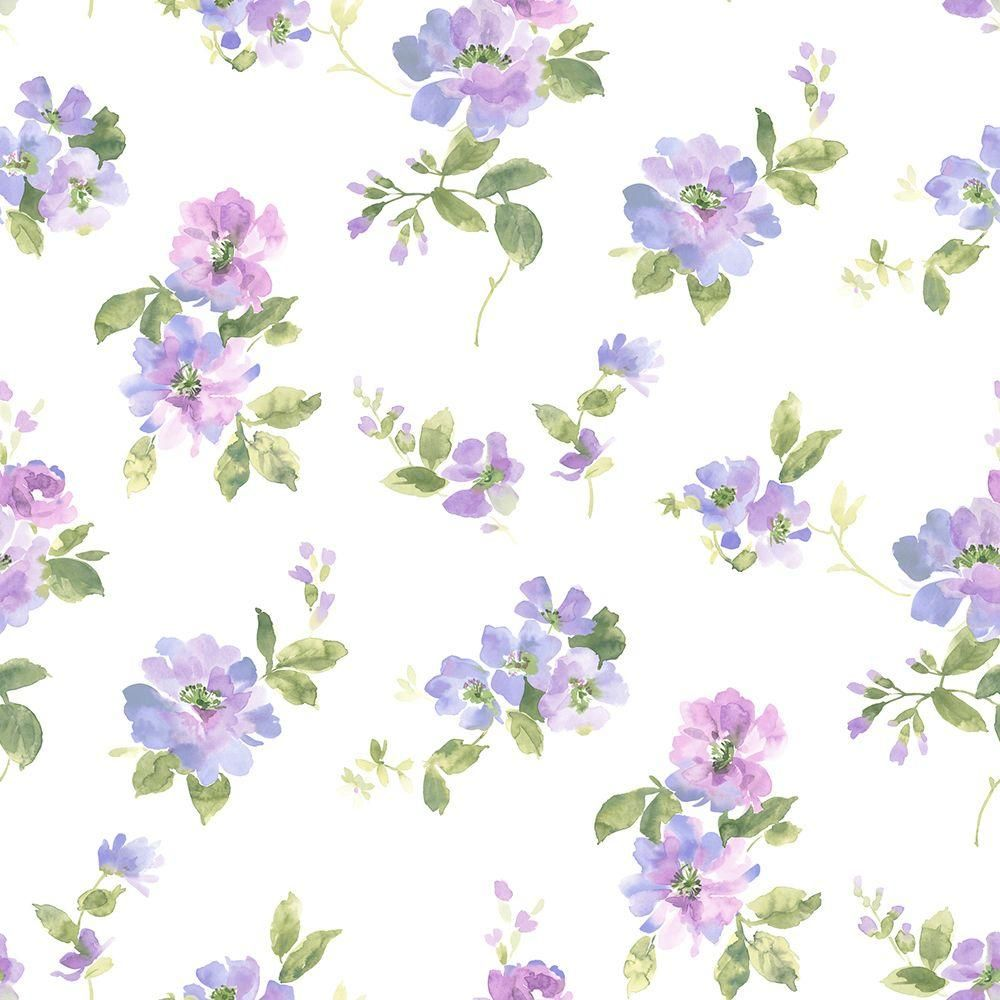 Chesapeake Captiva Purple Watercolor Floral Wallpaper