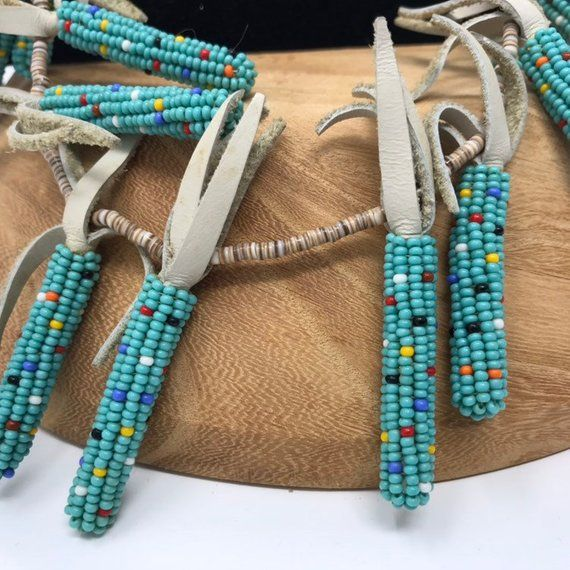 223b884be Native American Made Beadwork Vintage Necklace. Hopi Blue Corn beaded with  turquoise and heshi bead