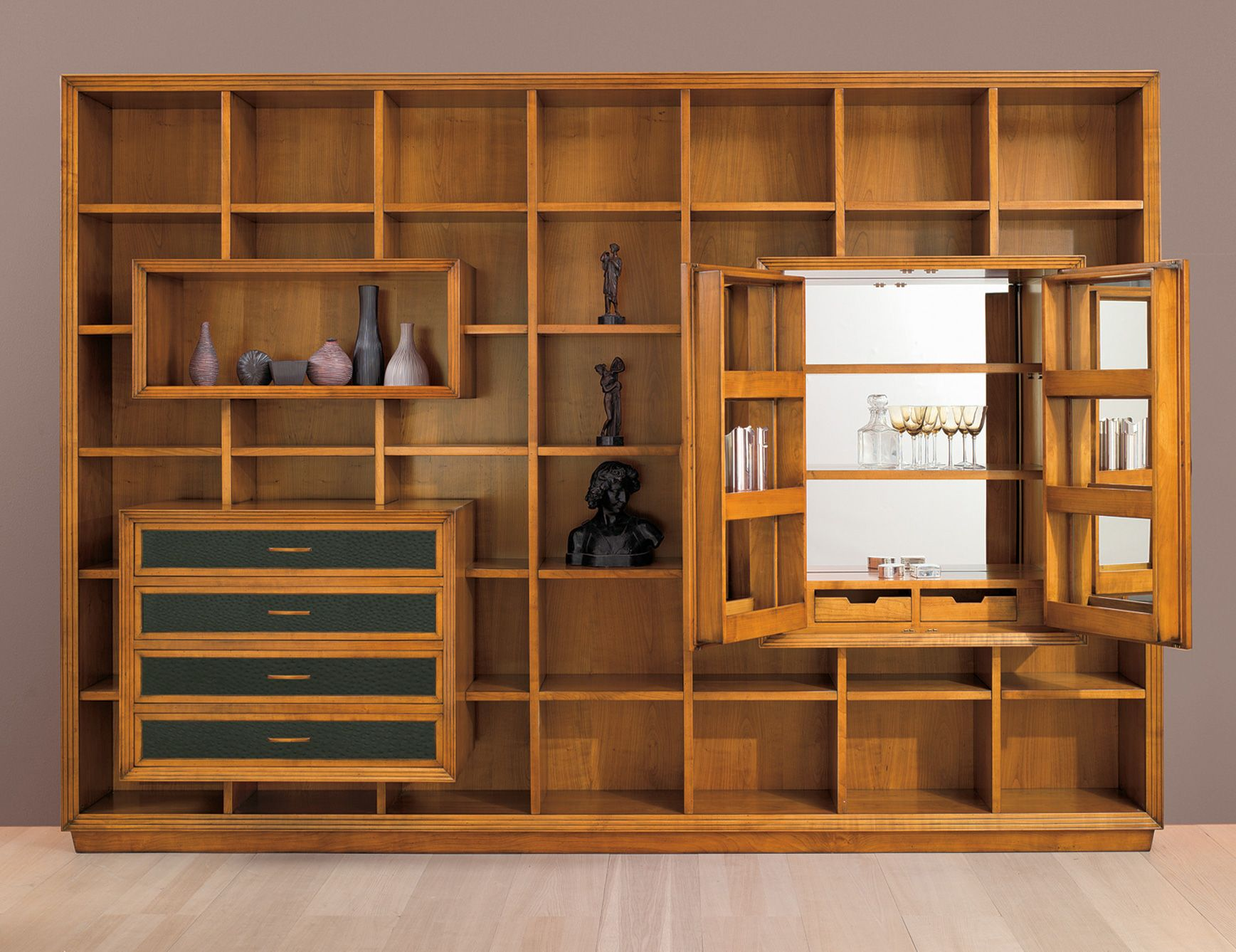 Composition 5 Italian Designer Modular Wall Unit And Bookcase System With A  Mirrored Bar Handmade In Cherrywood. Available In Various Wood Finishes.