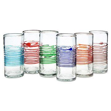 Multicolor Ombre Stemless Wine Glass Set Glassware Mexican Glass Colored Drinking Glasses Wine Glass Set