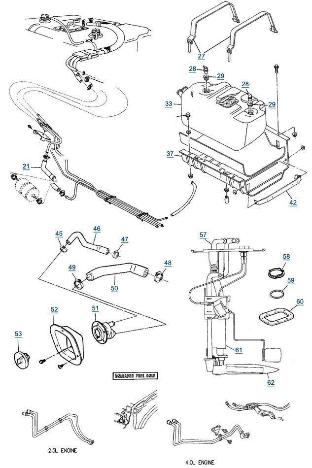 1987-1995 Jeep Wrangler YJ Fuel Lines, Fuel Pumps & Fuel