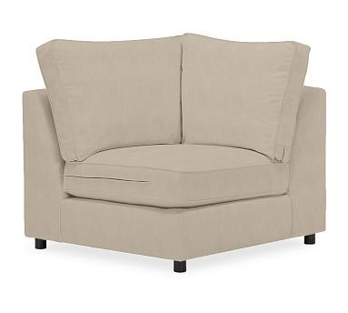 PB Comfort Upholstered Corner, Box Edge Polyester Wrapped Cushions, Performance Tweed Desert