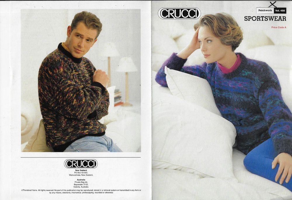 c75060df763684 Men   Women s Fairisle or Plain Sweater Crucci 488 knitting pattern chunky  yarn  Crucci