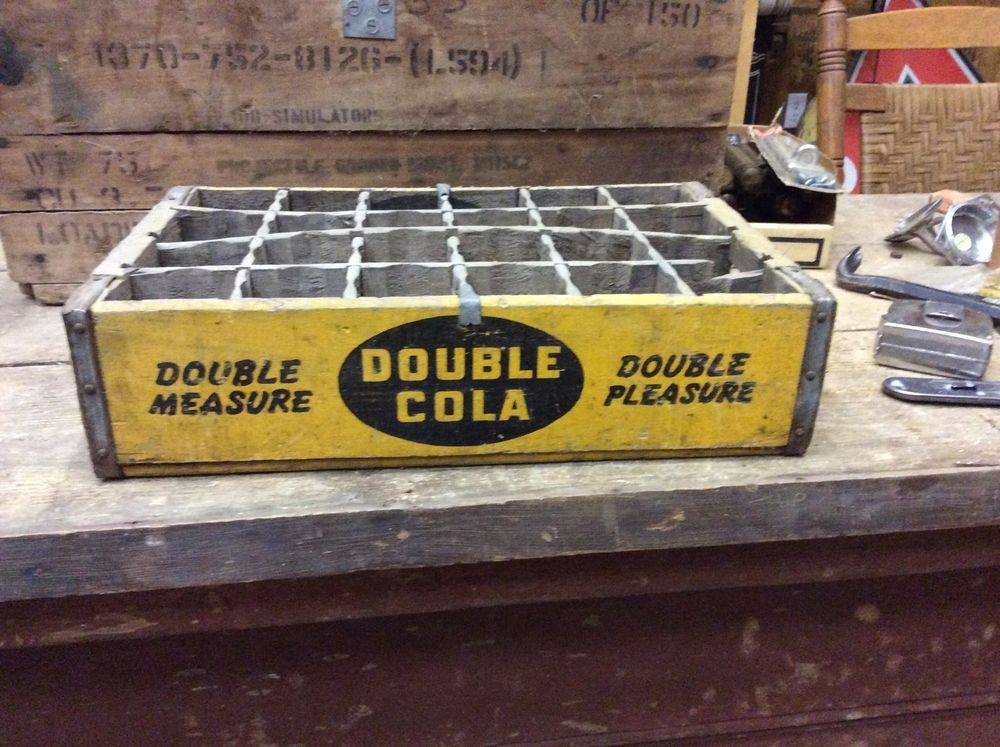 Details About Rare Double Cola Soda Crate Yellow Double Measure