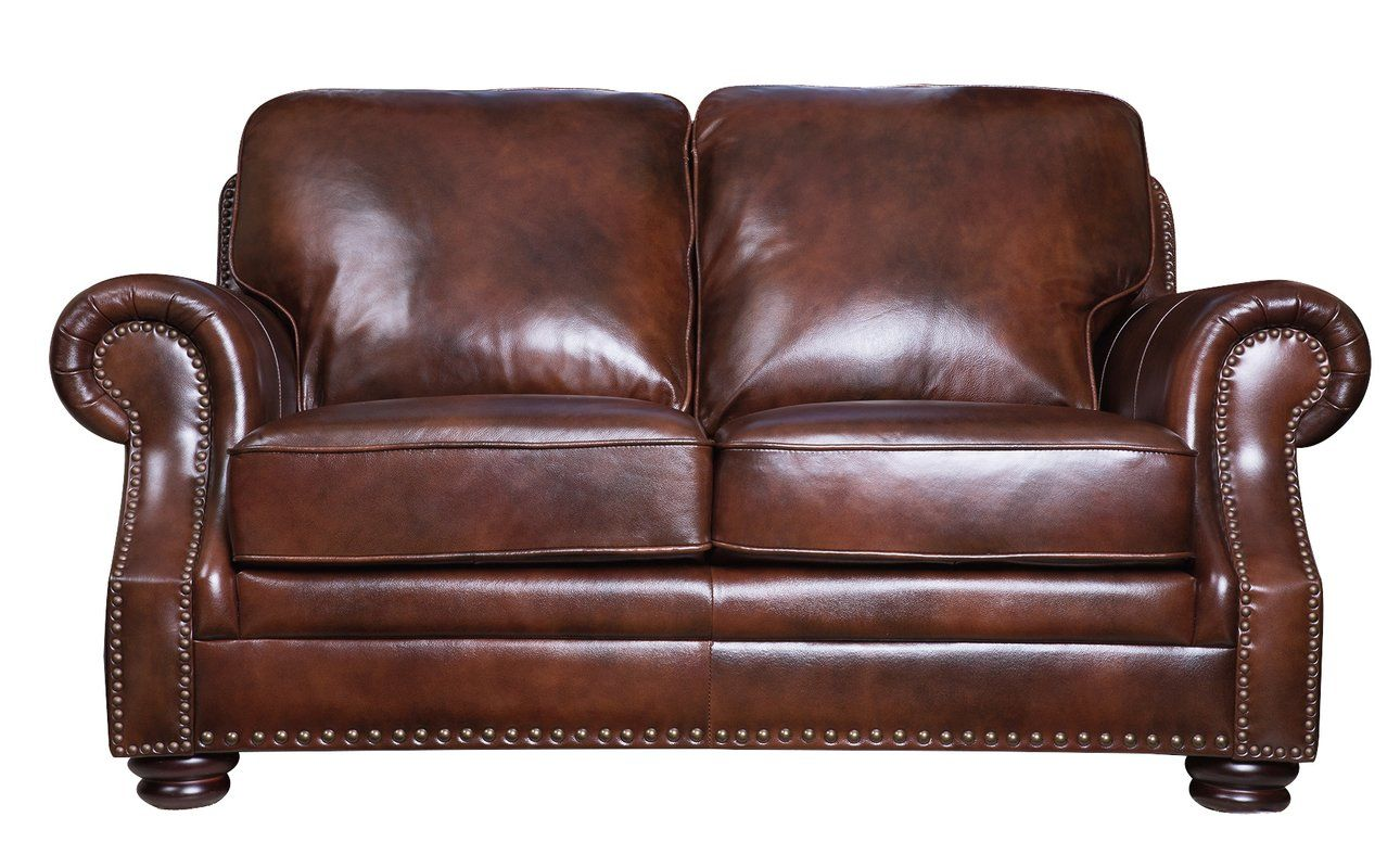 Online Shopping Discount Barryknoll Leather Loveseat By Darby Home Co