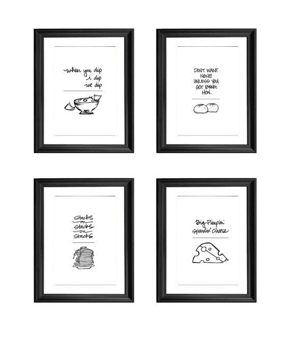 25 Rap Lyrics Kitchen Frames These Hand Lettered Typographic Prints Gets Some Giggles Puns Are Fun This With Images Rap Lyrics Hip Hop Gifts Kitchen Prints