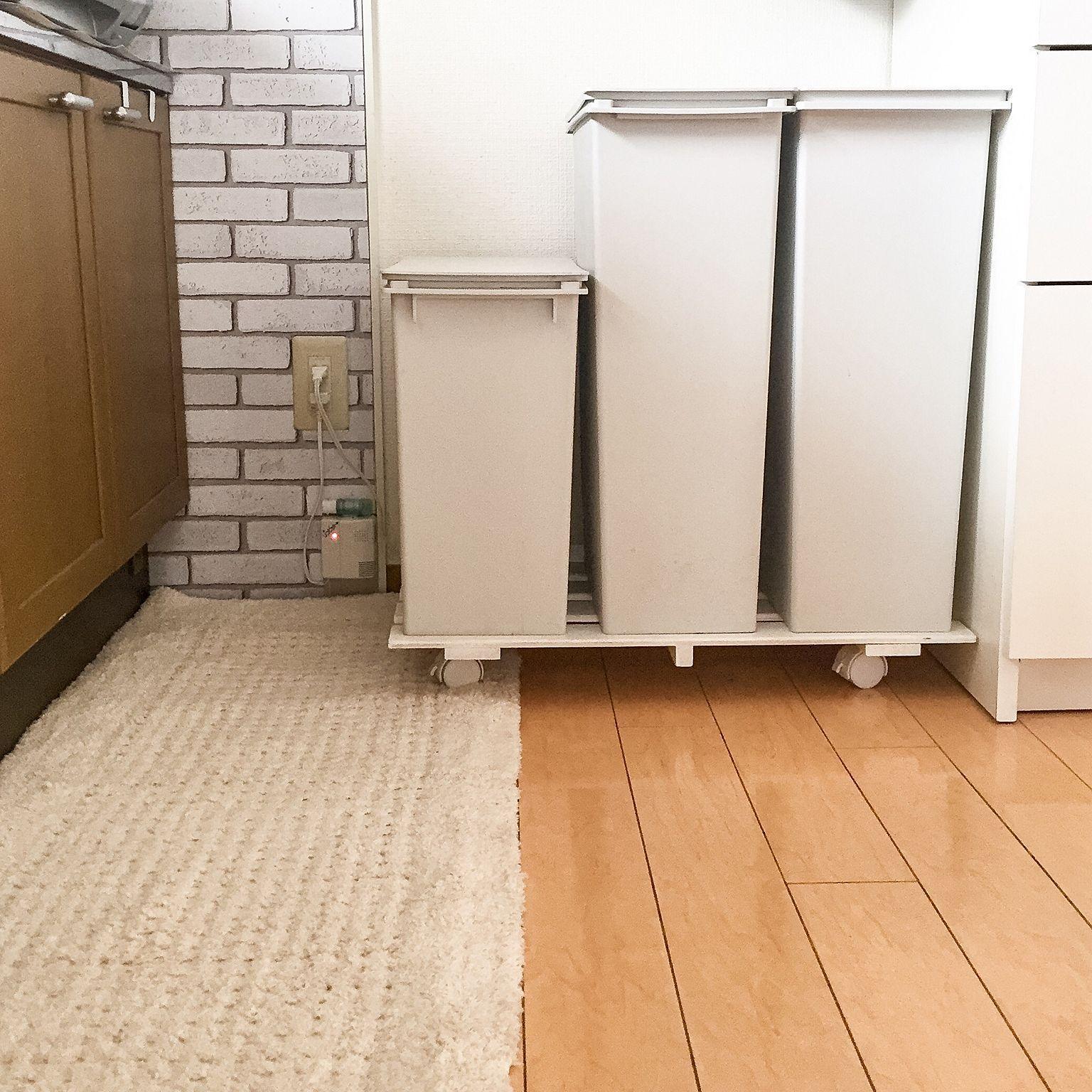 Kitchen/無印良品/ゴミ箱/DIY/salut!/キッチンマット.