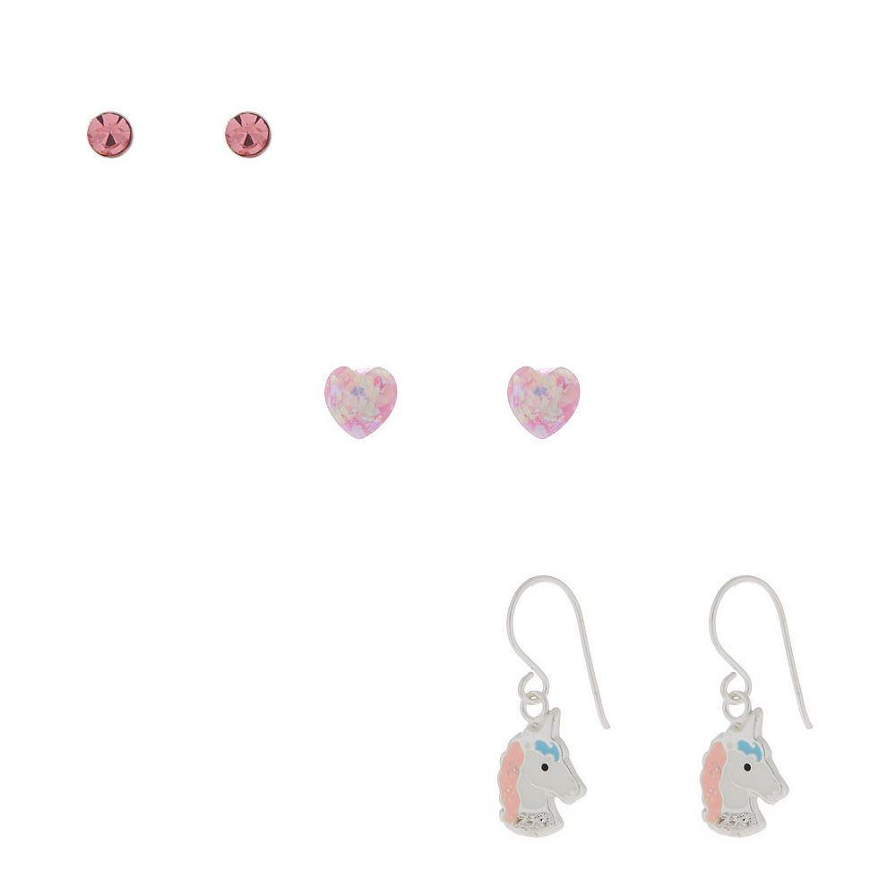 a3fb9b4ee Claire's Sterling Silver Sherbert Unicorn Earrings - Pink, 3 Pack in ...