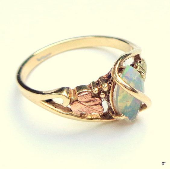 Black Hills Gold Rings, Black Opal Ring, Gold Vintage, 10K Gold, Opal