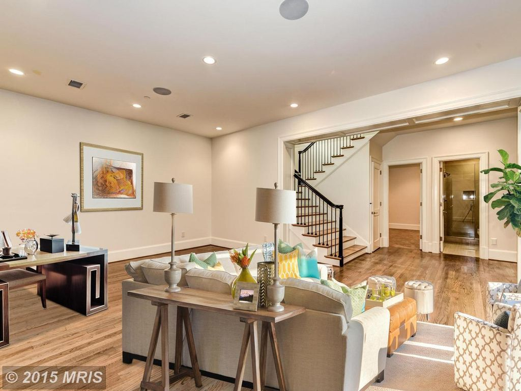 Room Contemporary Family With High Ceiling Carpet Hardwood Floors