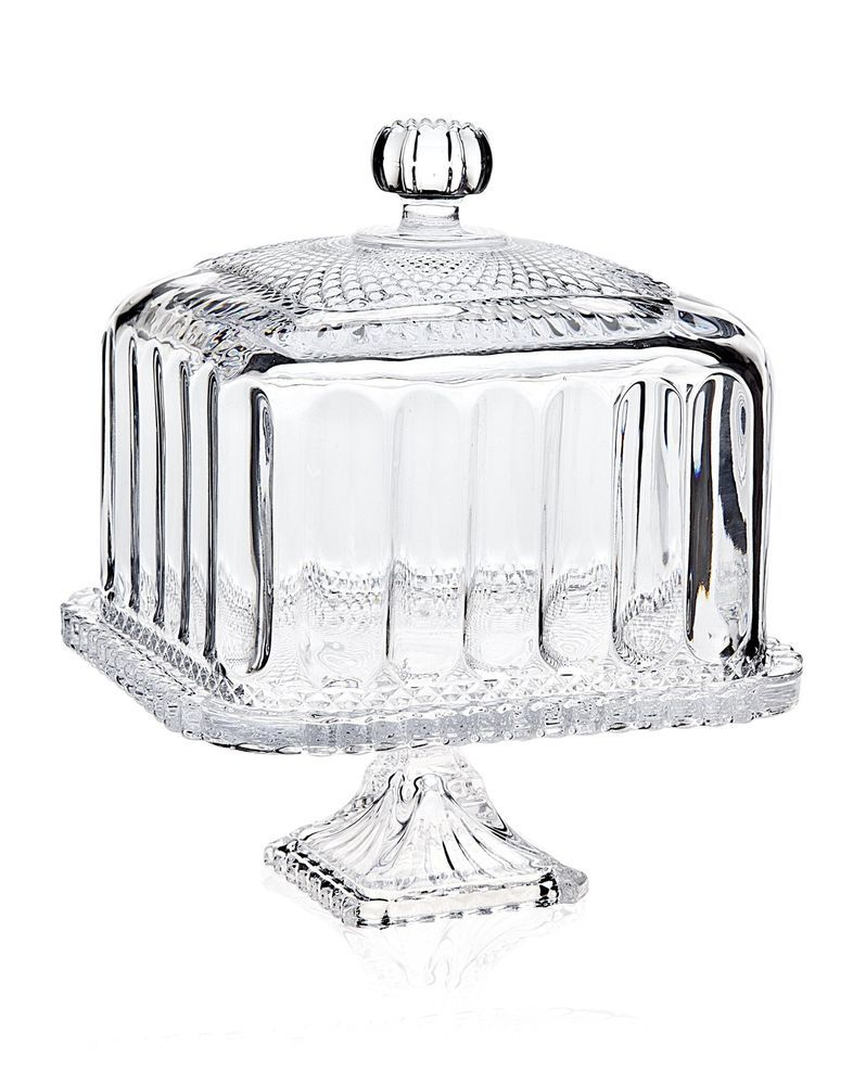 Clear glass belmont cake stand vintage crystal plate dome