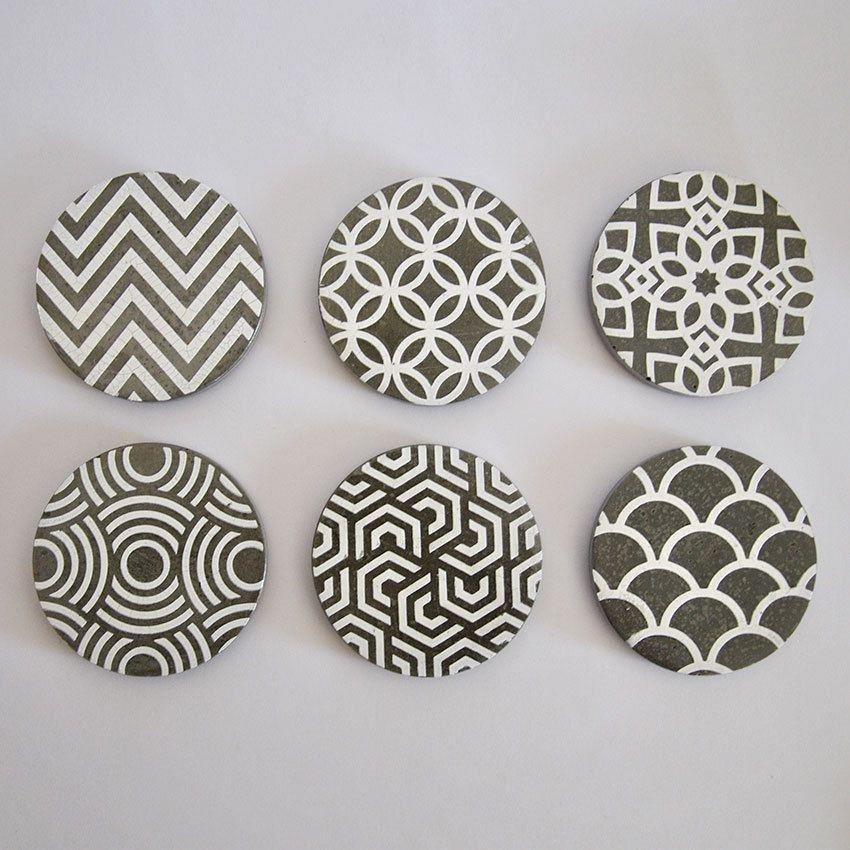 posavasos de hormign en blanco juego de posavasos de cemento redondos de color gris art dec decoracin industrial
