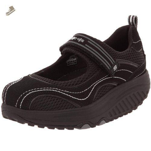 SKECHERS Womens 9.5 Shape Ups Mary Jane Gray Silver Fitness Walking Shoes