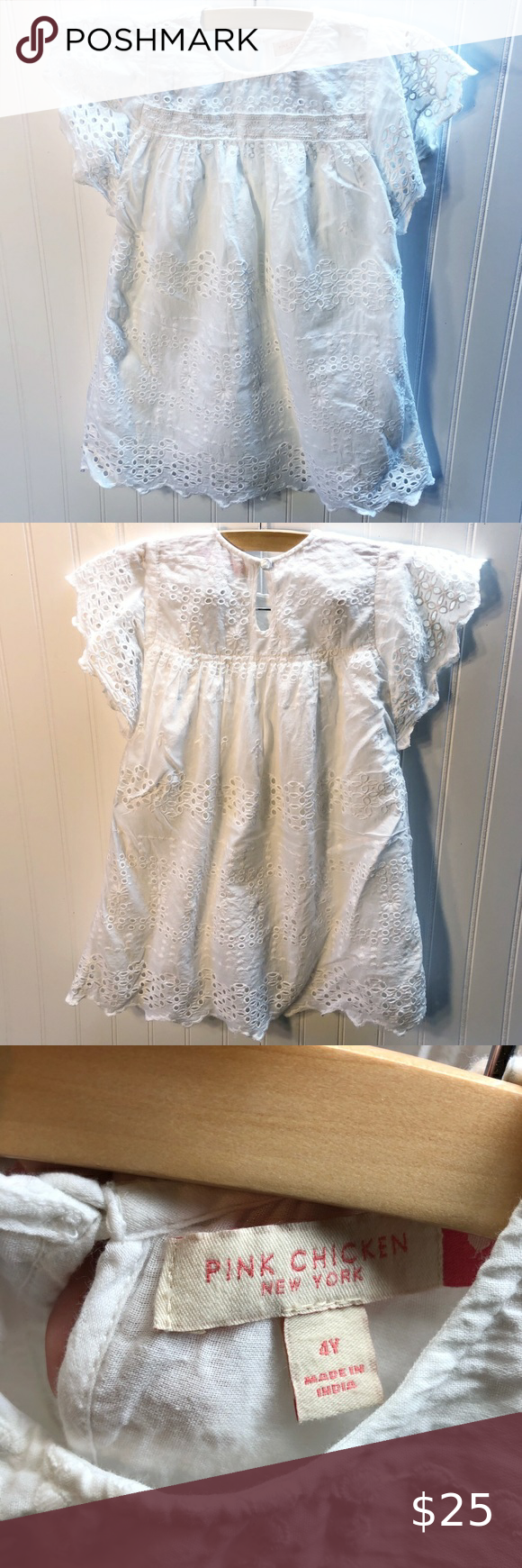 Pink Chicken White Eyelet Dress Girls Size 4 White Eyelet Dress Girls Shift Dress White Eyelet [ 1740 x 580 Pixel ]