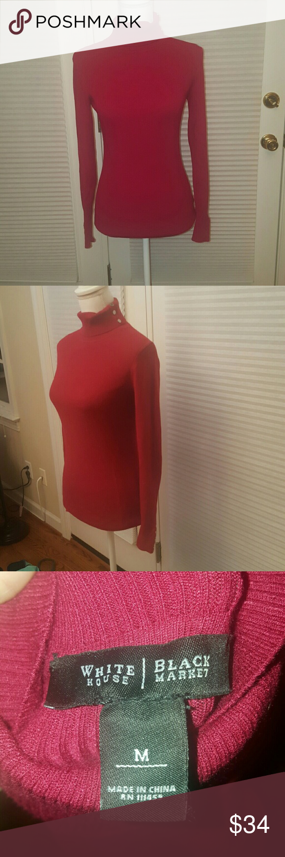 WHBM red turtleneck sweater size Medium Gorgeous White House Black Market red turtleneck sweater.  Size medium. Once wore this for a few hours  once.  Excellent condition.  Silver buttons along sleeves and collar. White House Black Market Sweaters Cowl & Turtlenecks