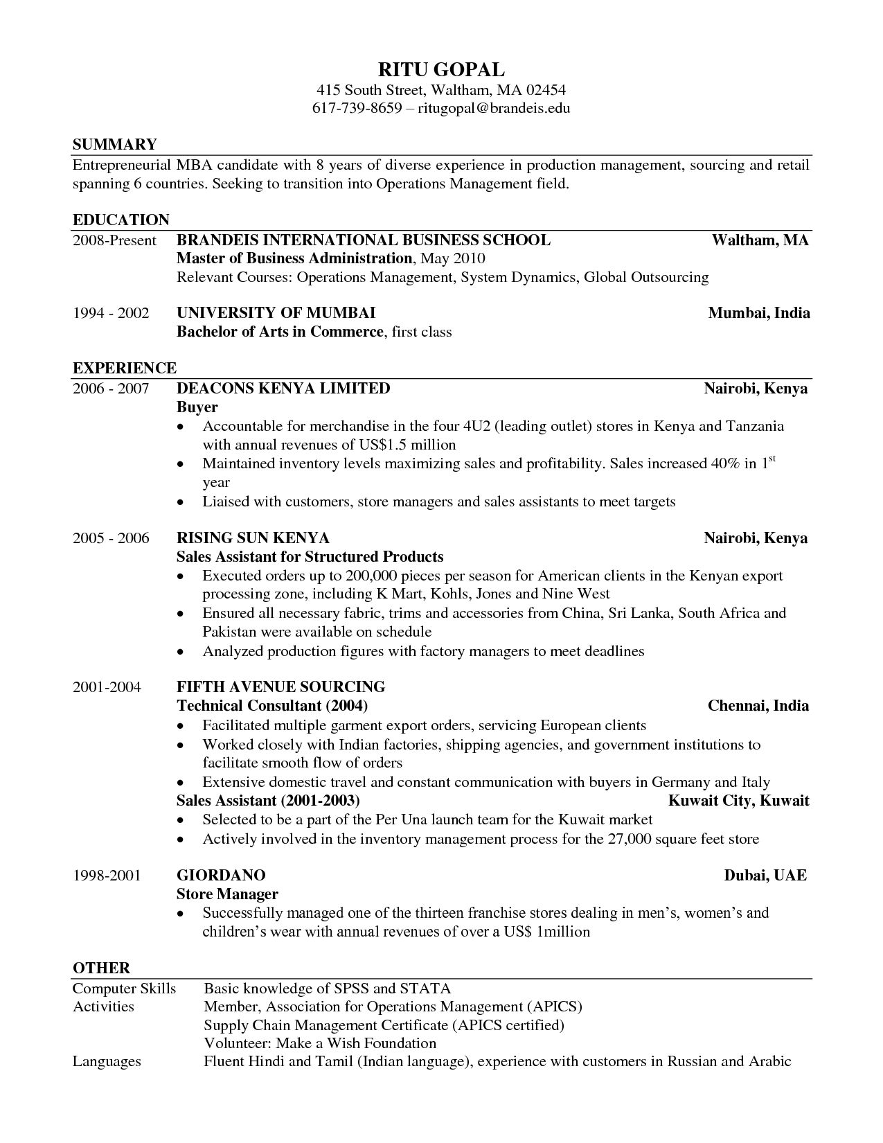Business School Resume Example 7
