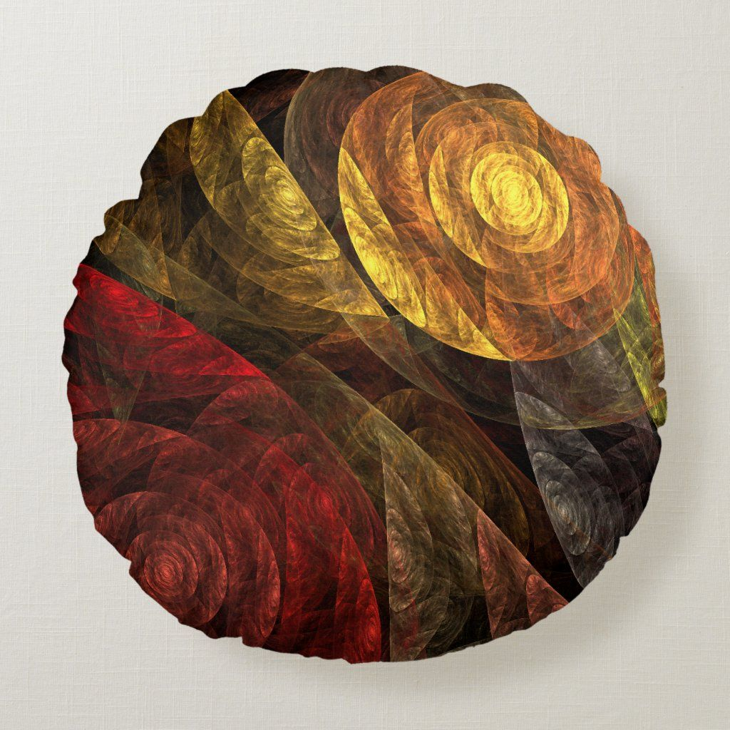 The Spiral of Life Abstract Art Round Pillow