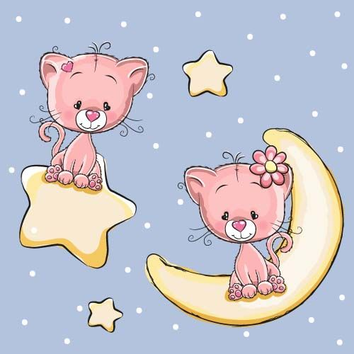 Cute Dog With Stars And Moon Card Vector 02 Vector Animal Vector Card Free Download Cat Vector Cute Cartoon Animals Cute Cartoon