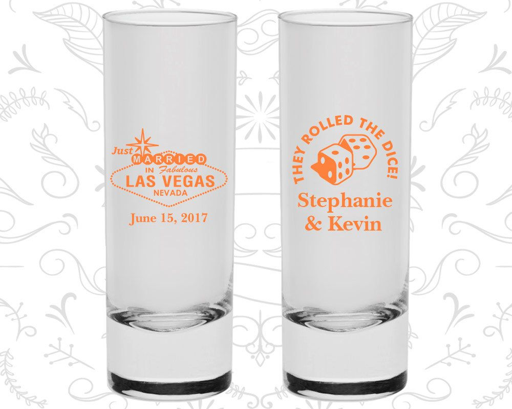 Las Vegas Wedding Shooters, Personalized Shooters, Just Married Shooters, They Rolled the Dice, Las Vegas Sign, Tall Shot Glasses (55)