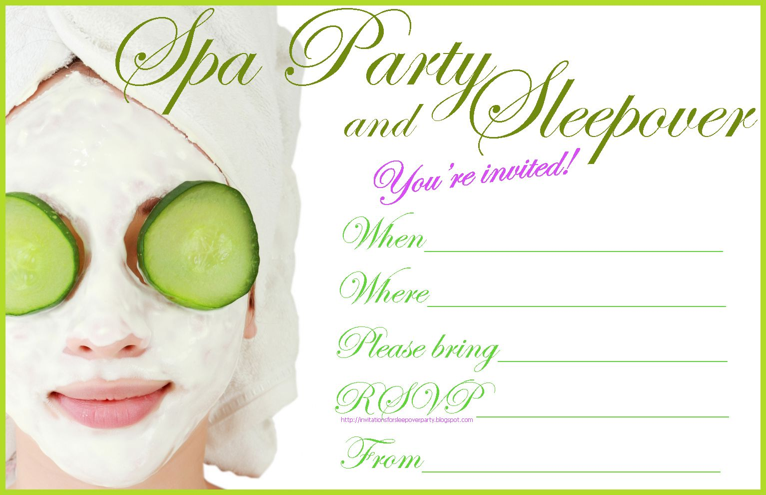 Free spa party invitation to print. If your sleepover is a spa ...