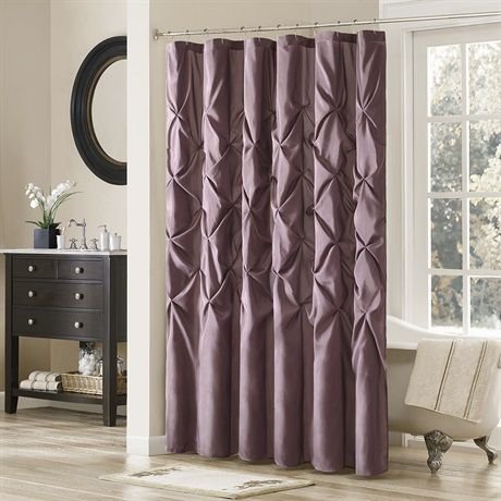 Update your bathroom instantly with the Laurel Shower Curtain. Its deep plum color paired with large tufting creates a contemporay look while adding value to your space. Made from 100% polyester polyoni, this shower curtain is machine washable for easy care.